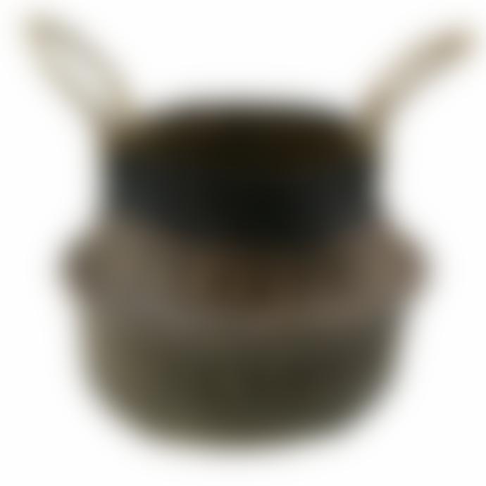 Keep It Living Foldable Handmade Black & Neutral Patterned Storage Belly Basket