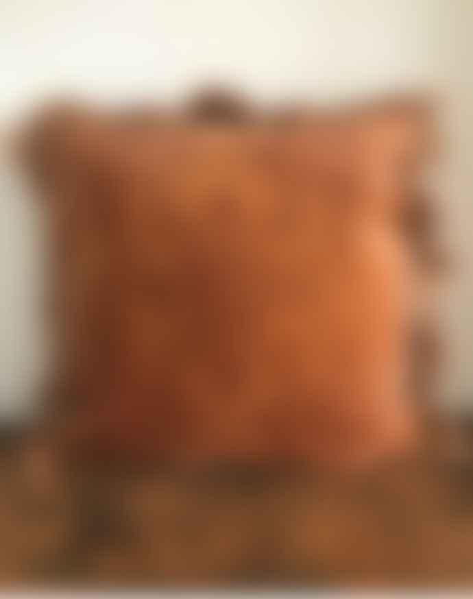 Peach Printed Velvet Cushion