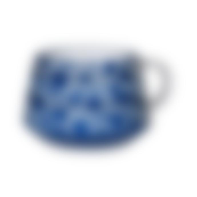 Coach House Hand Painted Blue White Mug
