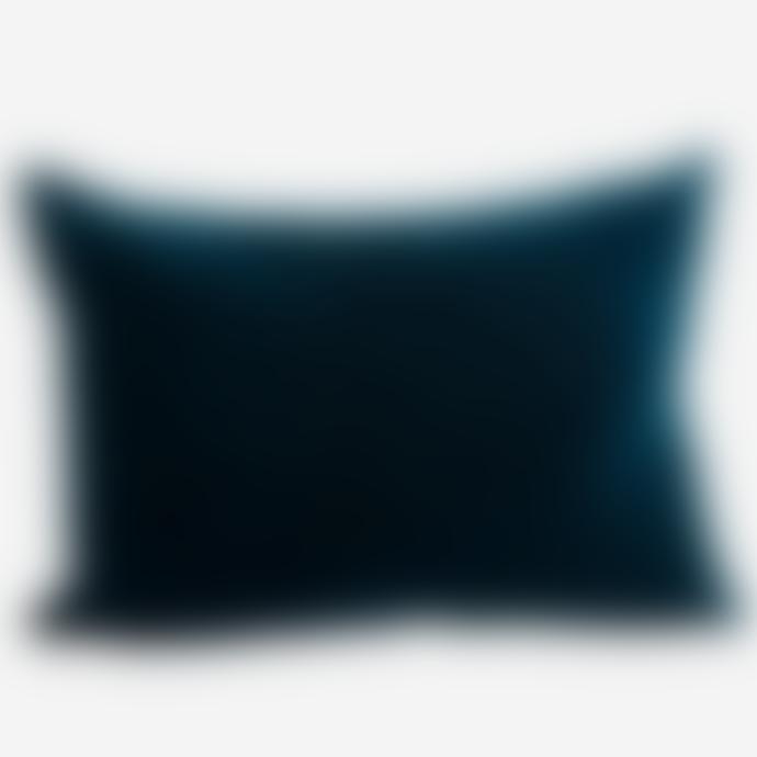 Madam Stoltz Large Velvet Cushion Cover Petrol