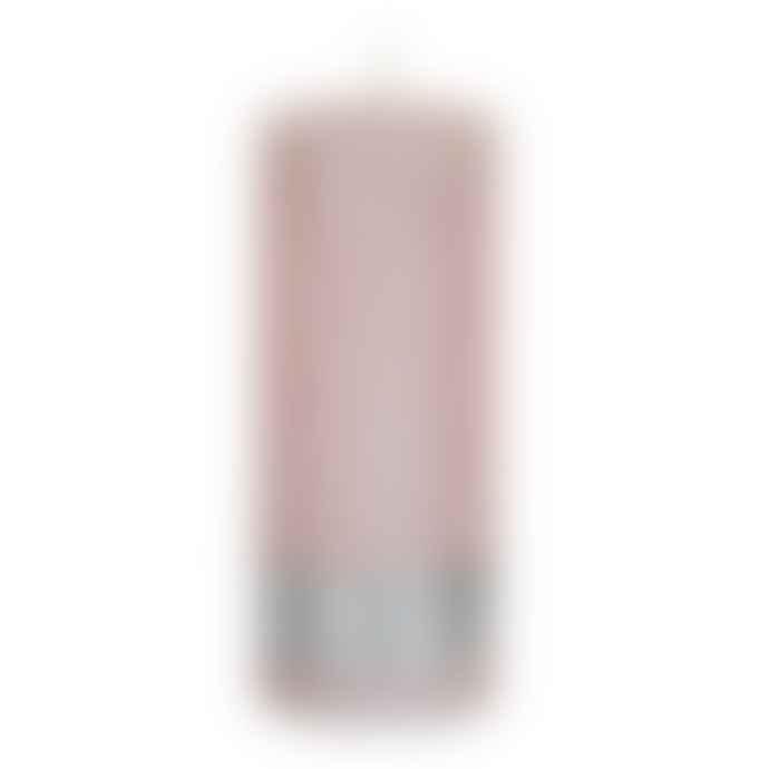 PTMD Set of 4 Metallic Pink 12x5cm Pillar Candle