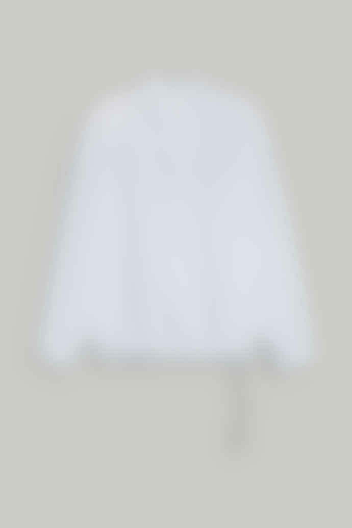 CLOSED White Cotton Stand Up Collar Blouse