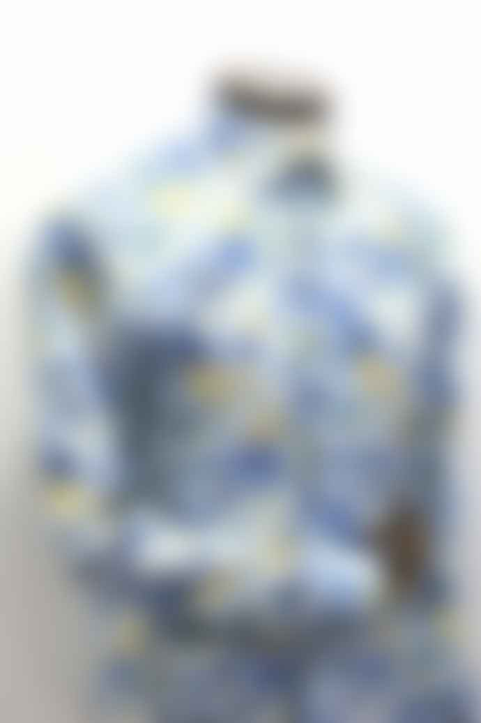 Remus Uomo White With Blue Yellow Floral Pattern Shirt