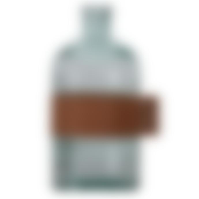 Dröm Collection 28cm glass bottle with leather decoration