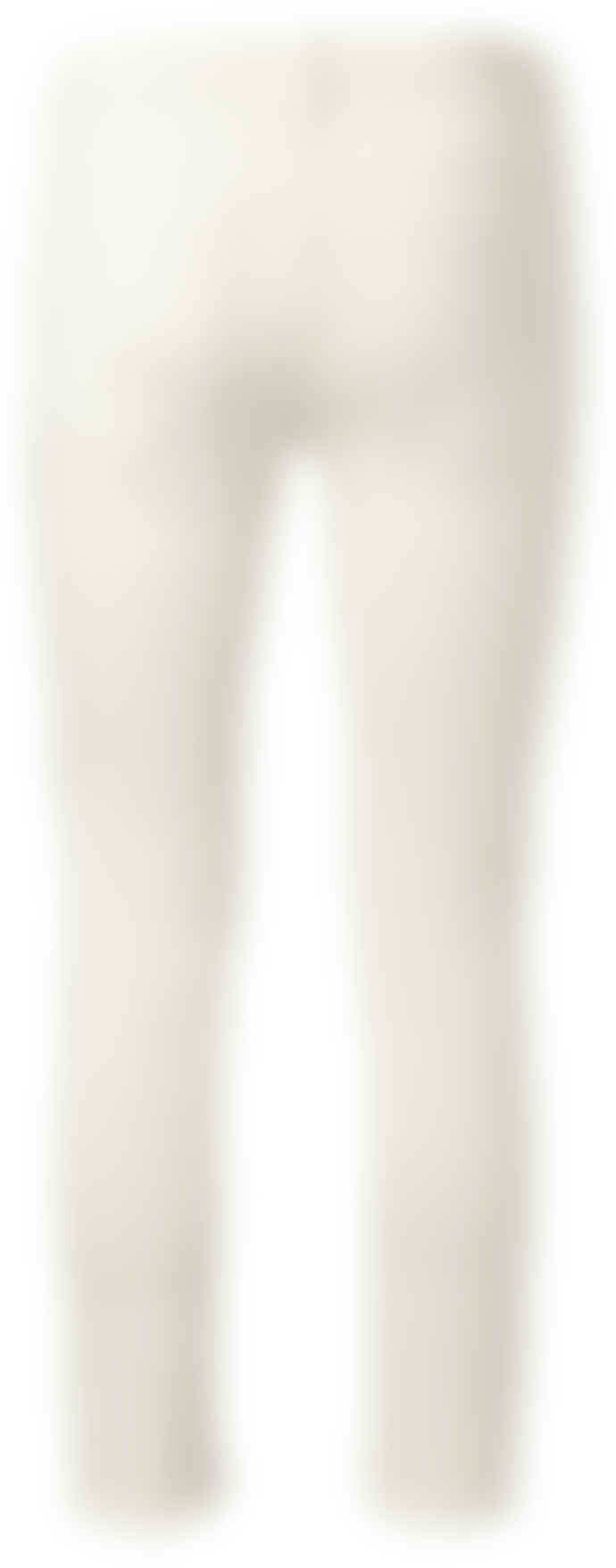 Yaya Cream coloured jeans with frayed hems and print on waistband