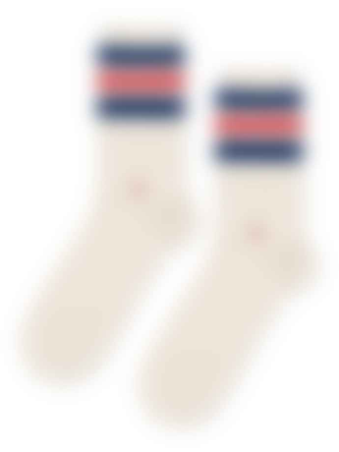 Hansel from Basel Ivory Striped Slub Towel Crew Socks