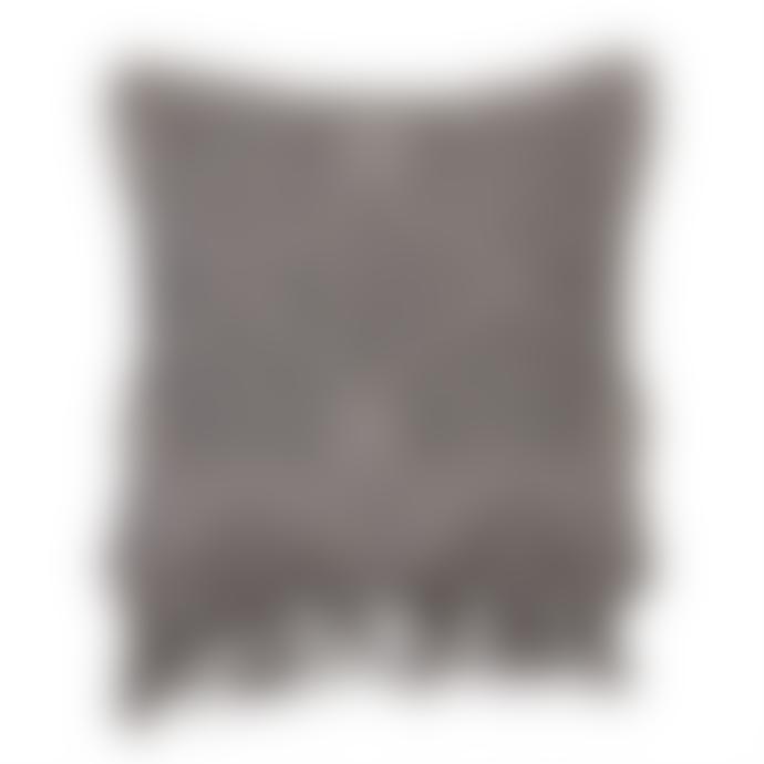 Bloomingville Fringe cushion 50x45cm in grey colour