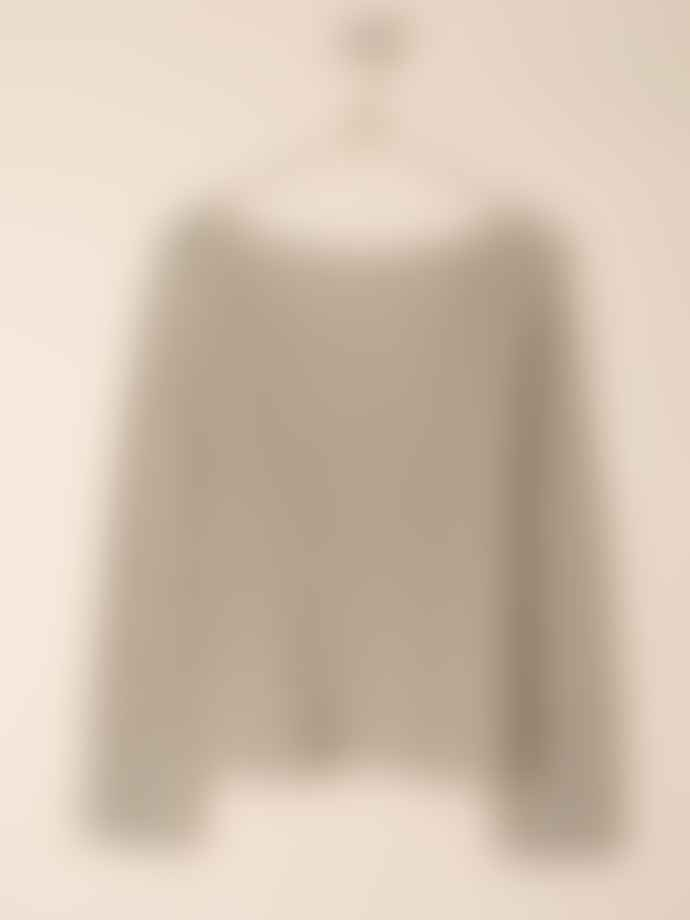 Indi & Cold Oatmeal Boat Neck Ribbed Sweater