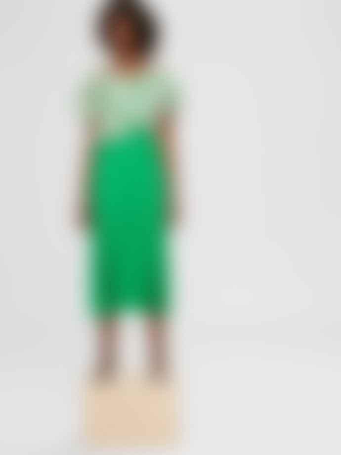 Selected Femme Green Pleated Midi Skirt