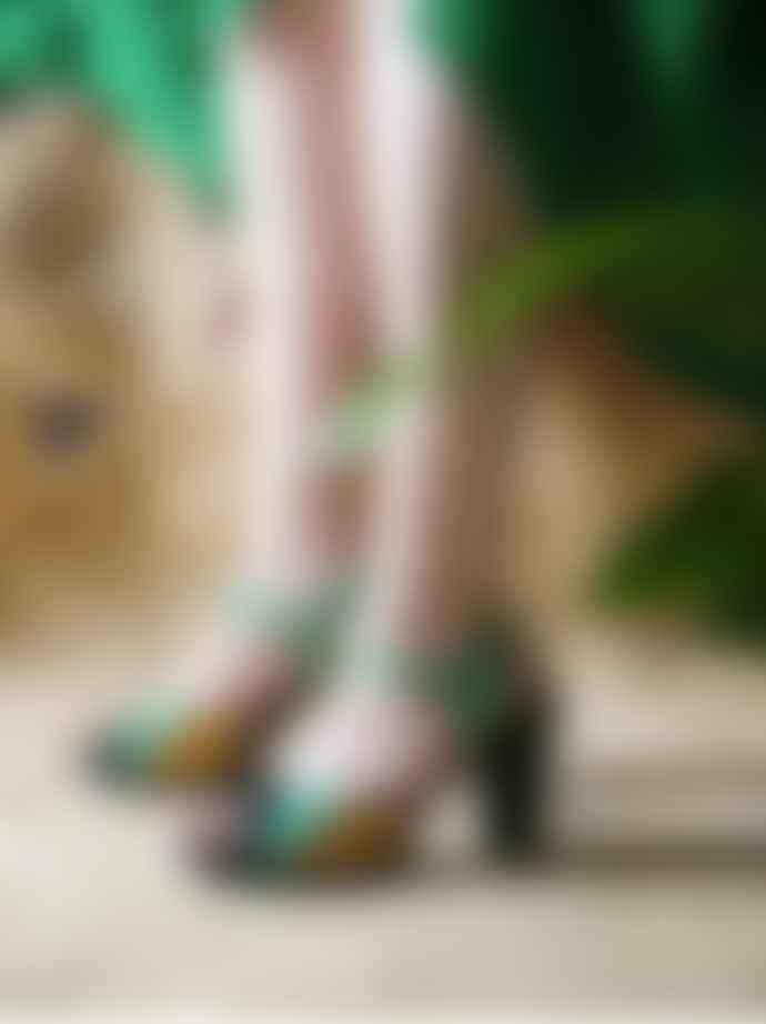 Chie Mihara  Green Metallic gold finish Adita Sandals
