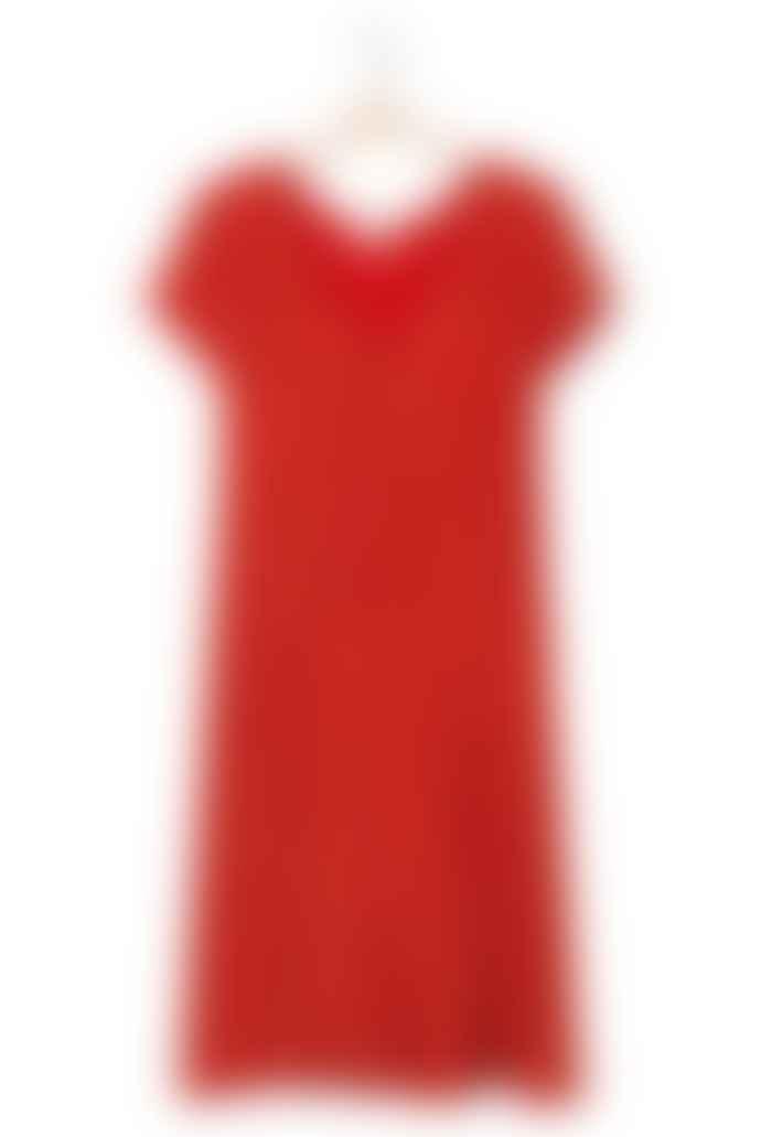 American Vintage Blood Red Short Sleeves Nonogarden Dress