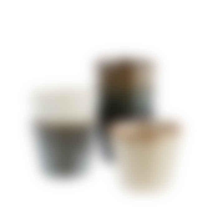 Madam Stoltz Set of 6 Stoneware Ceramic Espresso Cups, Various Colours