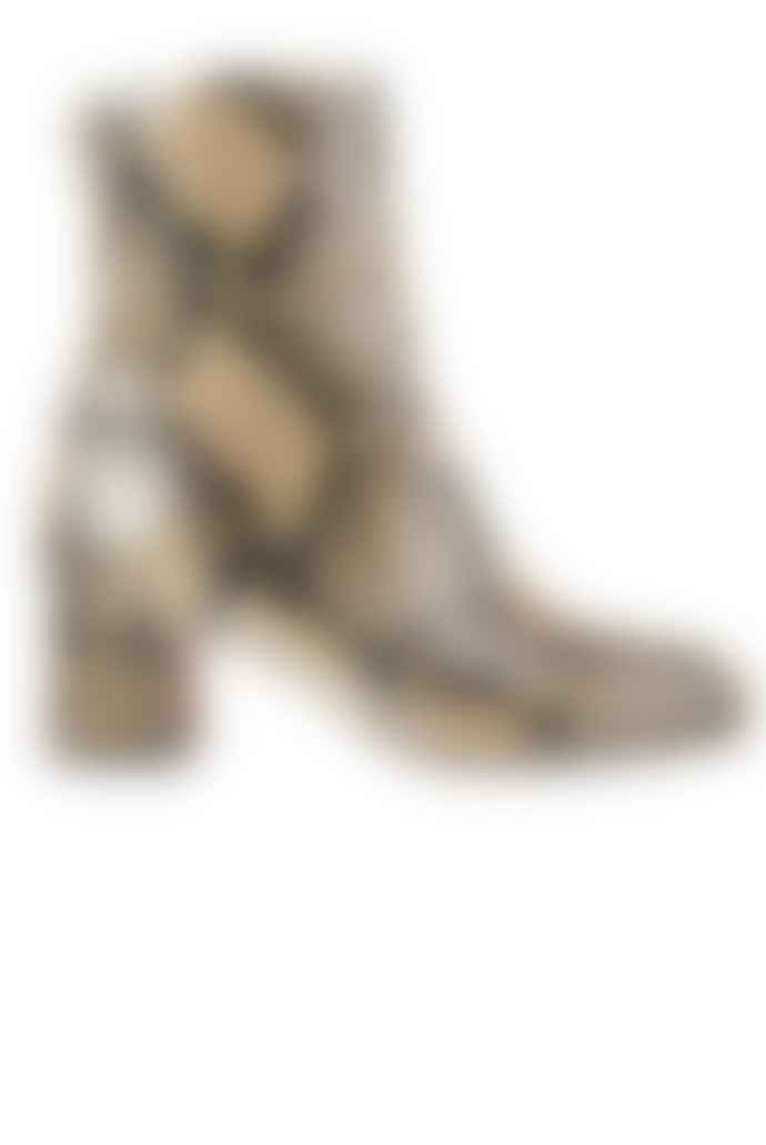 Chie Mihara  Beige Na Nalon Snake Print Leather Boots