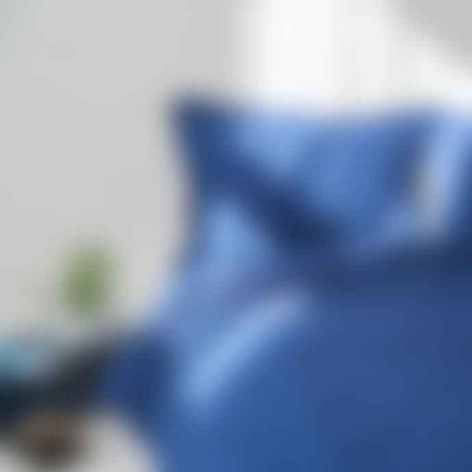 DREAMON Linen Bedding Set Denim Blue Quilt Cover 220 X 200
