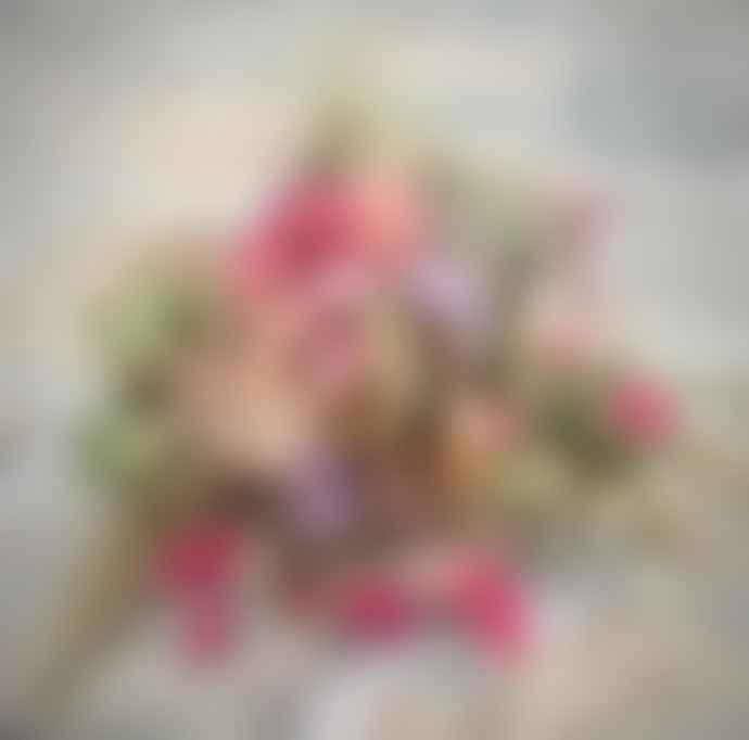 Pompon Bazar Bouquet Of Pink Country Dried Flowers/Bouquet De Fleurs Séchées Champêtre Rose