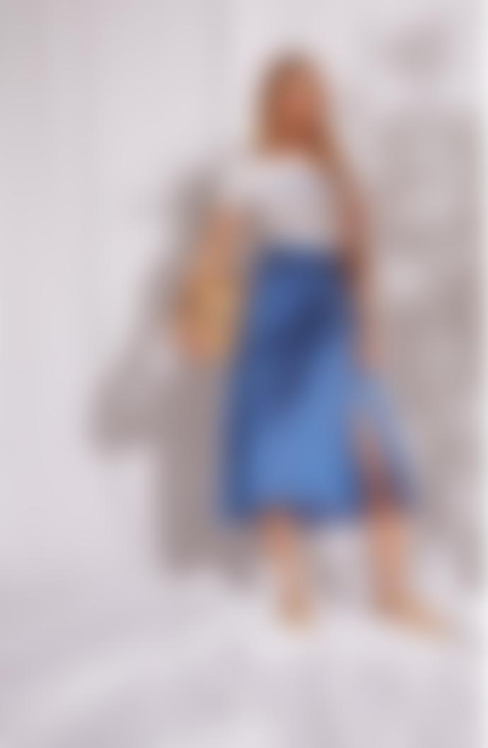 Grace & Mila Printed Midi Skirt Blue