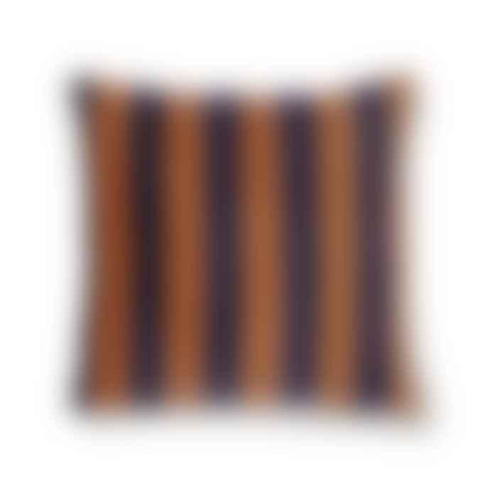 HK Living Striped Cushion Velvet Blue Orange 50 X 50cm