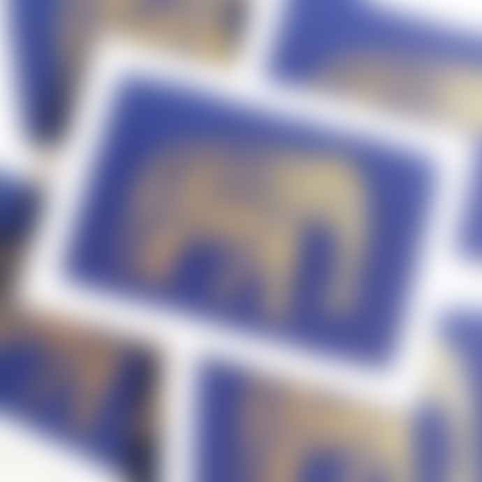 Archivist Set of 5 Gold Elephant on Blue Letterpress Notecards