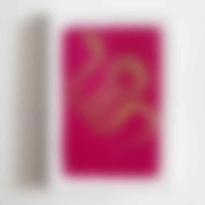 Archivist Set of 5 Gold Snake on Pink Letterpress Notecards