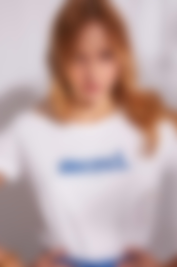 Grace & Mila White Merci T Shirt Blue