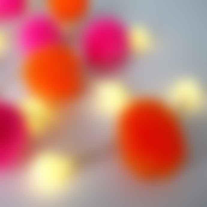 House of disaster Pink & Orange Pom Pom String Lights