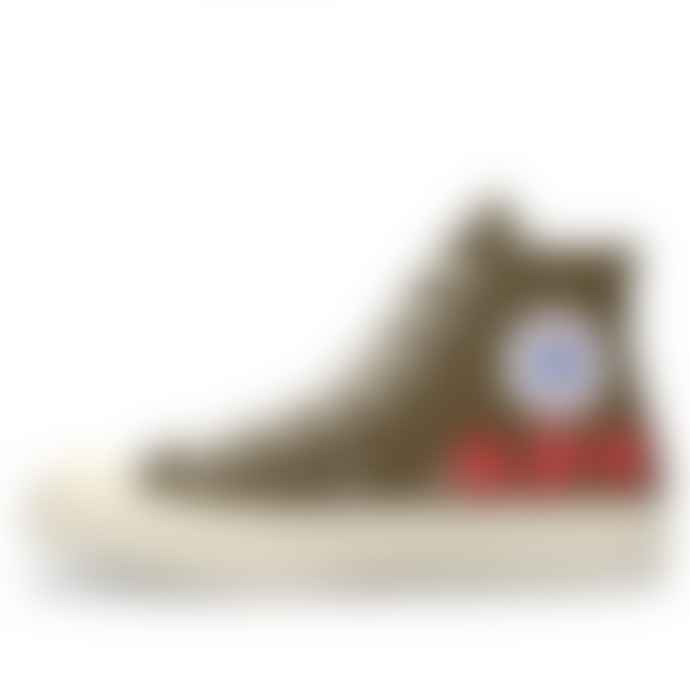 Comme Des Garcons Play X Converse Multi Red Heart Chuck Taylor All Star 70 High Khaki Shoes