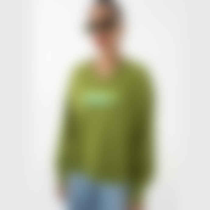 OOF WEAR Cotton Sweatshirt with V Neck in Green