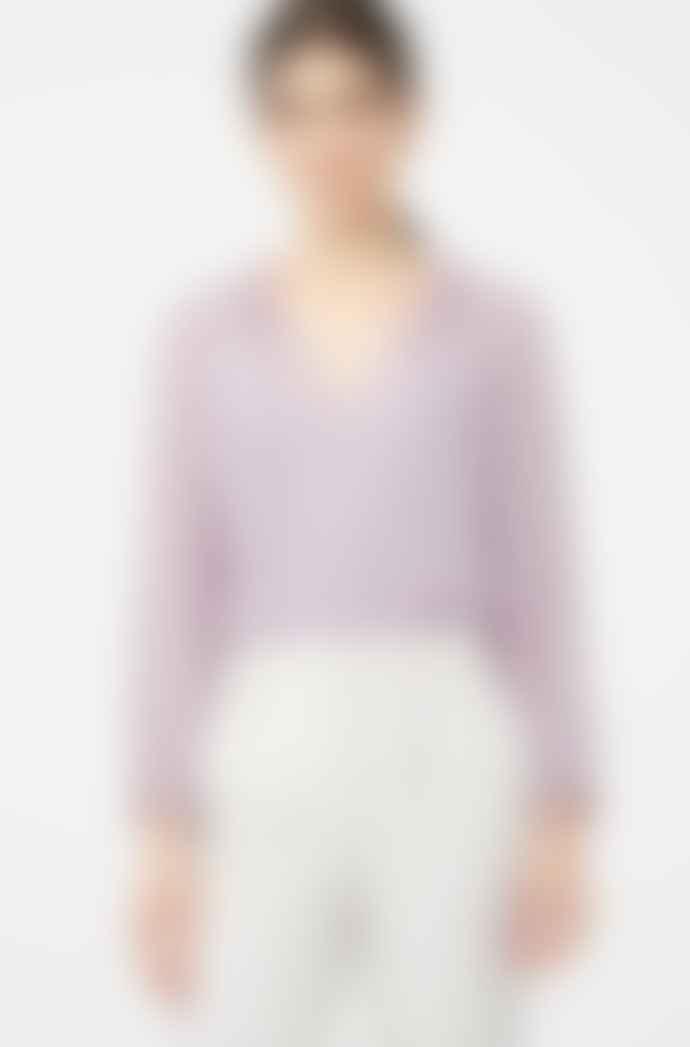 Rebecca Taylor Lilac Long Sleeve Satin Dot Blouse
