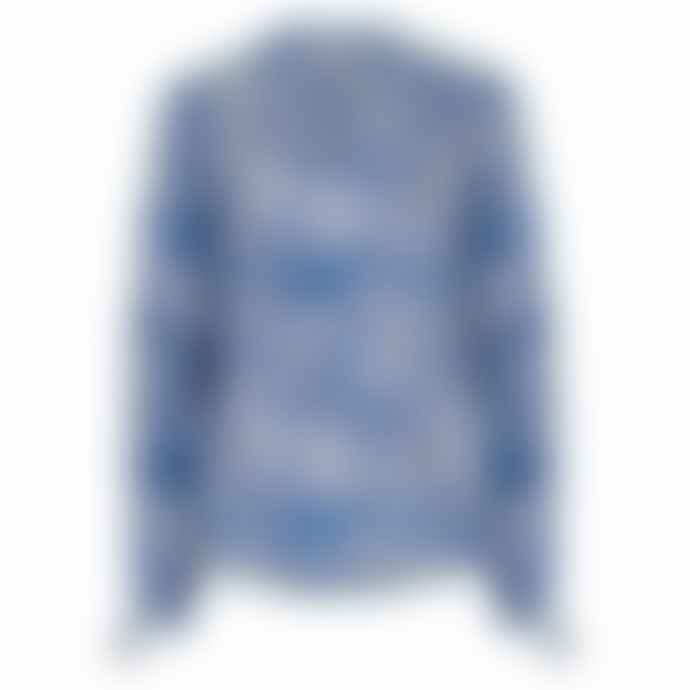 Mercy Delta Blue Hinton Ombre Cheetah Silk Blouse