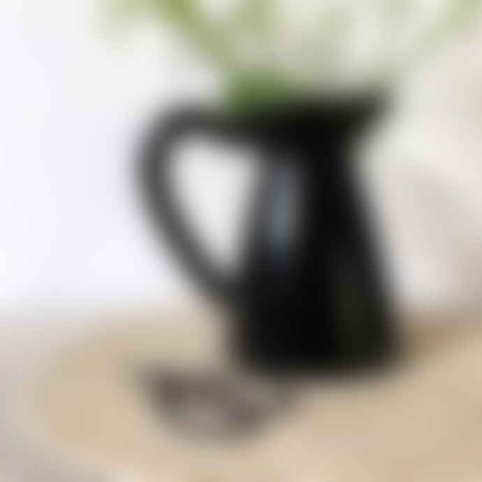 Raine And Humble Small Black Terracotta Pitcher