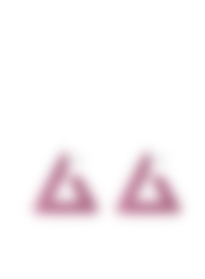 Big Metal Petra Large Triangle Earrings In Pink