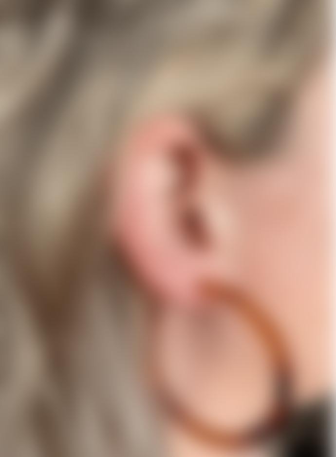 Big Metal Zadie Resin Hoop Earrings In Brown