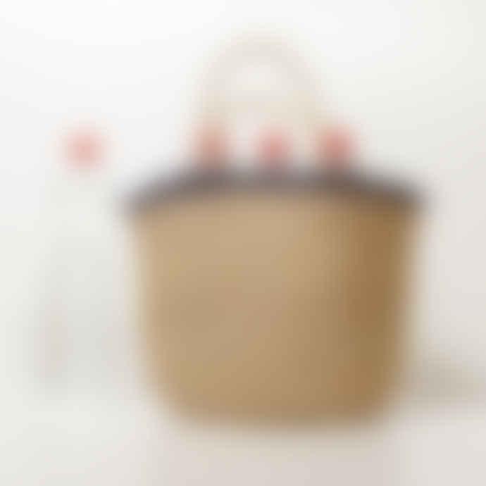 ILYOUCHA Crochet Raphia Bag With Navy Highlight