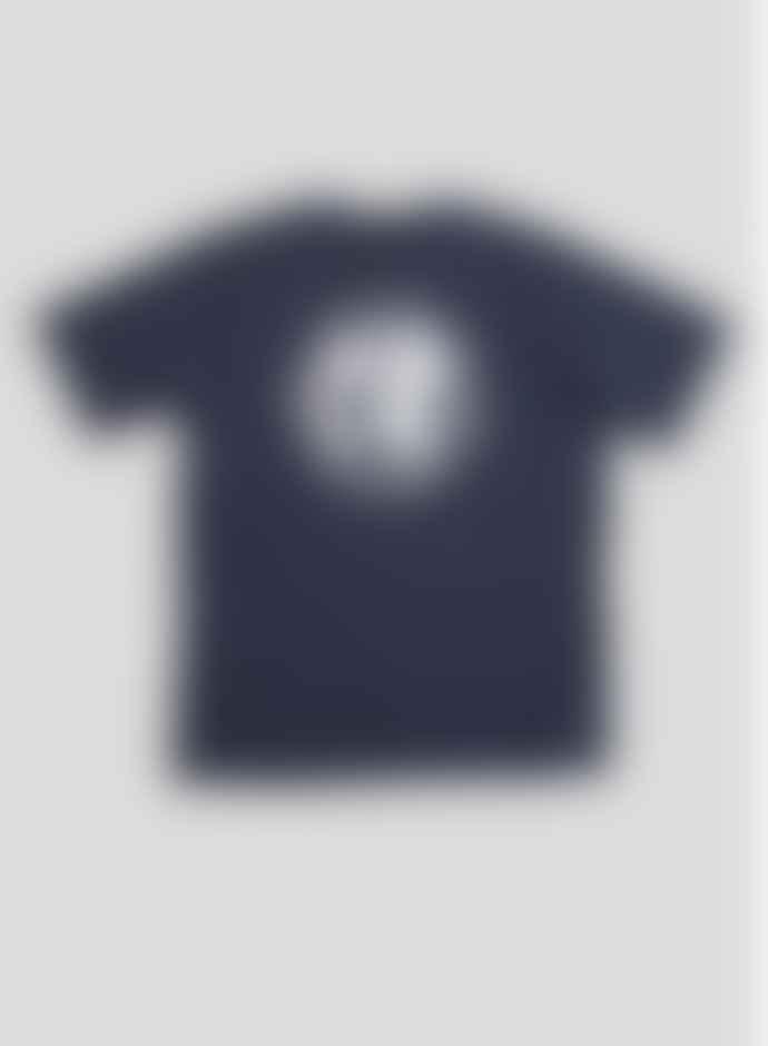 Nigel Cabourn Globe Back Print T Shirt Navy