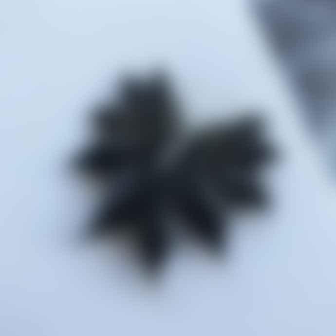 By Fossdal Medium Black Leather the Wings Earrings
