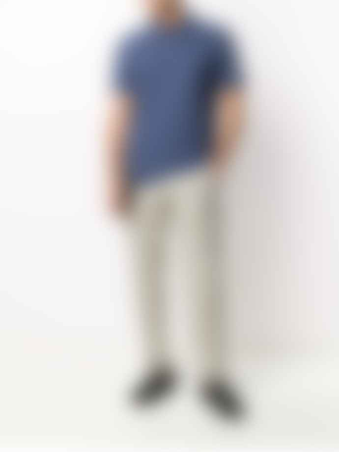 Z Zegna Men's Blue Cotton Short Sleeve Polo Shirt