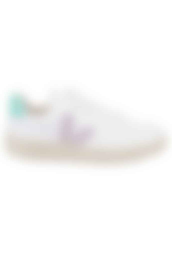 Veja V 12 Leather Extra White Parme Turquoise Womens
