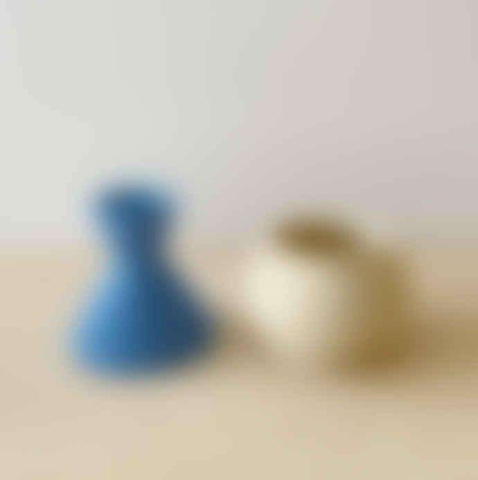 Mari Masot White & blue two part handmade plant pot