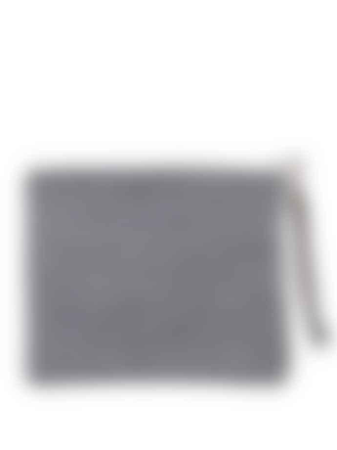 Fog Linen Work Navy Border Canna Pouch