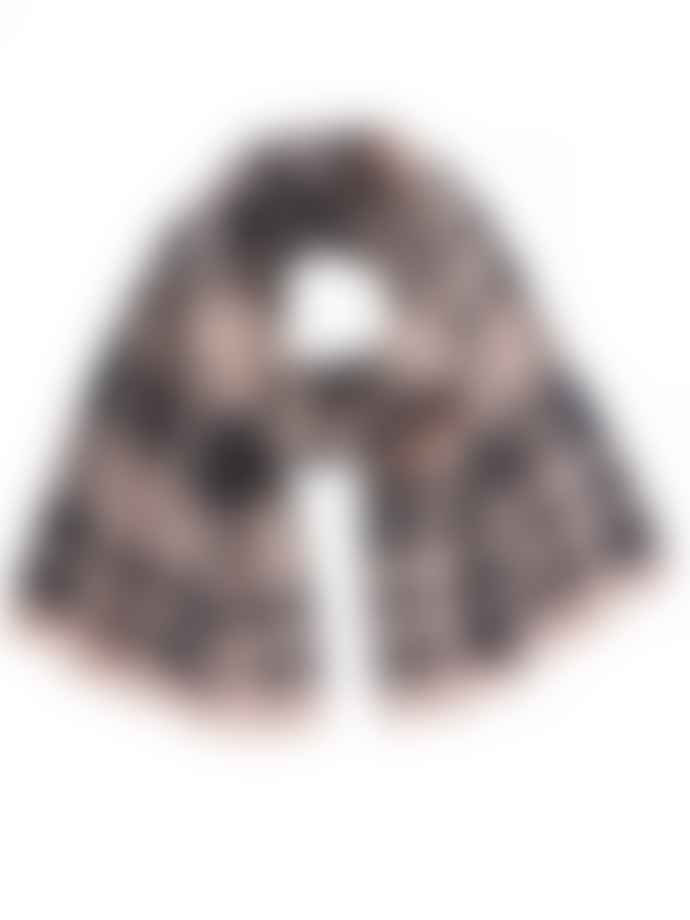 Markus Lupfer Pink Charcoal Check Jacquard Scarf