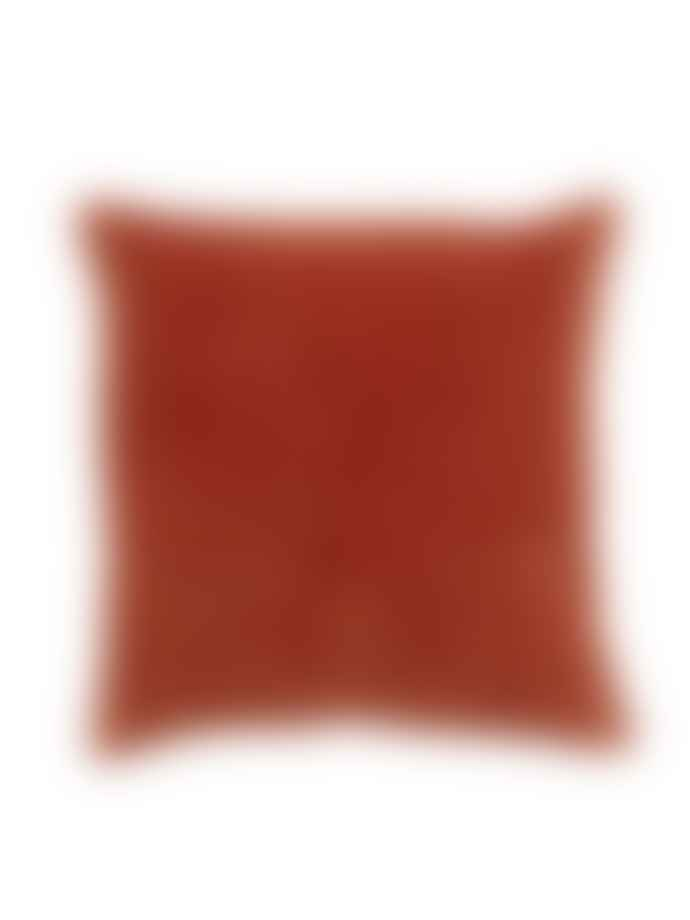 Nordal Fine Lines Quilted Velvet Cushion Rust