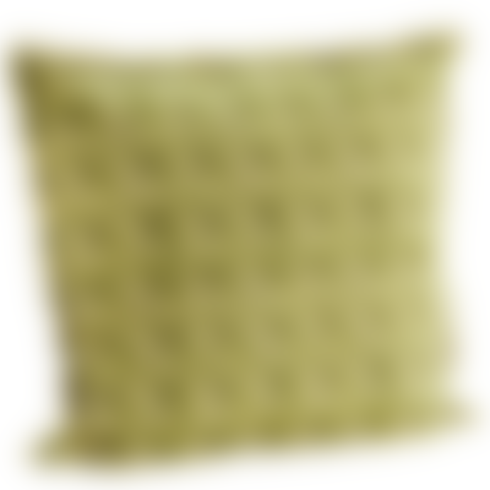 Madam Stoltz Printed Cushion Cover With Fringes In Dusty Green