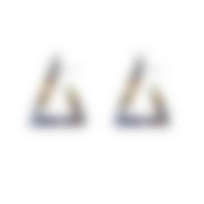 Big Metal Olivia Resin Open Triangle Earrings Blue Tortoise