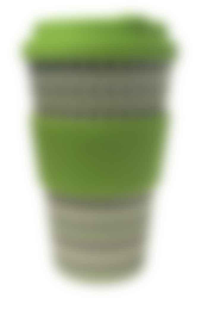 Ecoffee Cup Cup Green Polka 14 Oz 400 Ml Green White