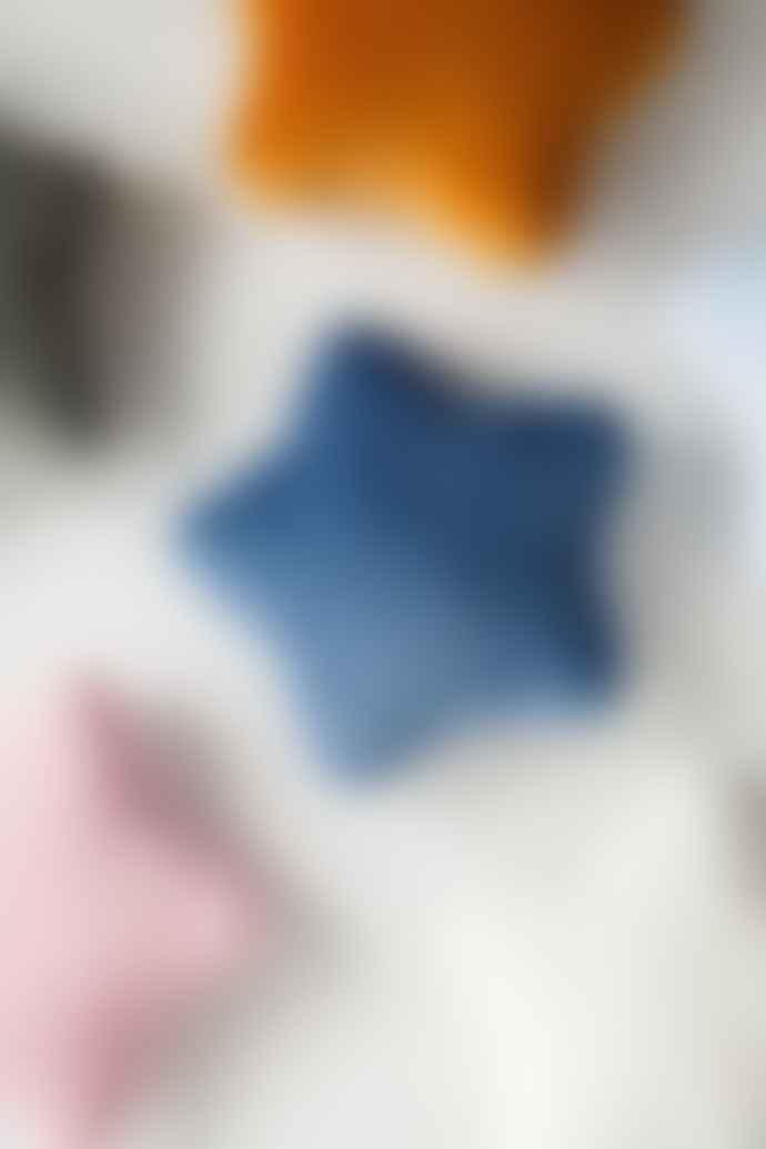 wigiwama Deep Blue Velvet Star Cushion