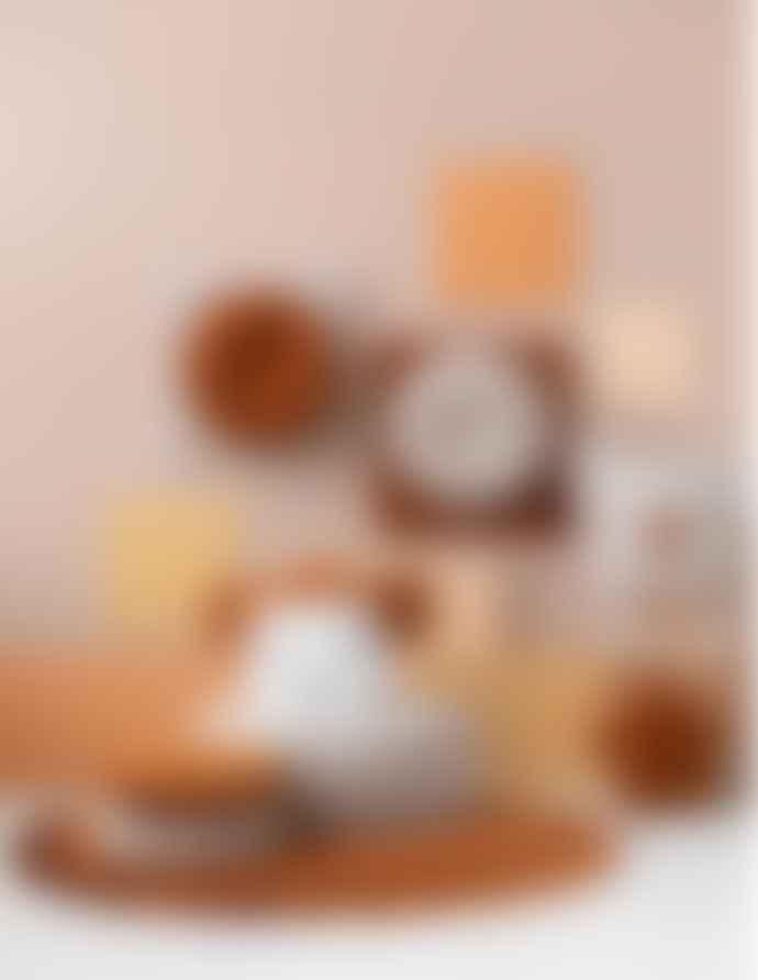 wigiwama Round Velvet Cushion Cinnamon White