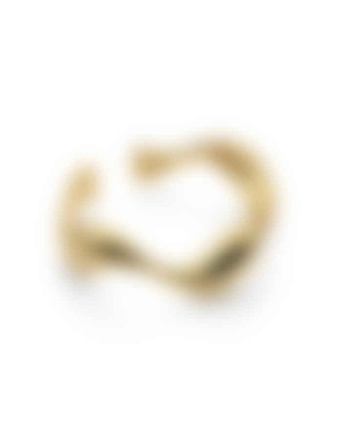 Nordic Muse 18k Gold Vermeil Adjustable Wave Ring RG - 0013 G