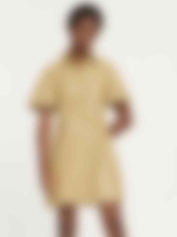 Samsoe Samsoe Shereen Faux Leather Shirt Dress Olive Grey