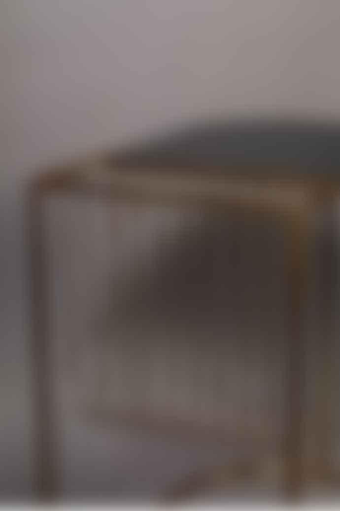 Dutchbone Brass Black Glass Side Table With Magazine Rack