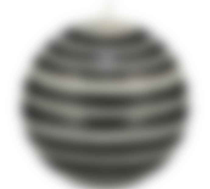British Colour Standard Large Striped Ball Candle Jet Black Pearl White